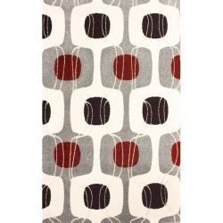 nuLOOM Euro Ivory/ Plum/ Red Kids Maze Pattern Rug (52 x 76