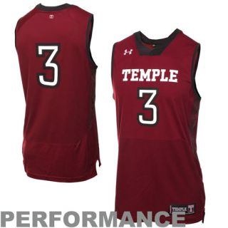 Under Armour Temple Owls #3 Replica Basketball Performance Jersey   Cherry