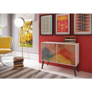 Manhattan Comfort Avesta 2.0 Funky 3 Shelf White with a Colorful Stamp Door and Grey Feet Melamine MDP Side Table 7AMC131