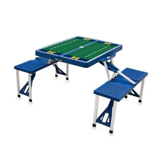 Picnic Time 54 in Blue Michigan Wolverines Plastic Rectangle Collapsible Picnic Table