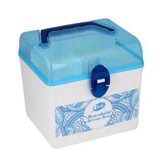 "Home 6.1"" x 5.1"" x 5.9"" White Plastic 2 Compartments Rectangle Case Box Holder"
