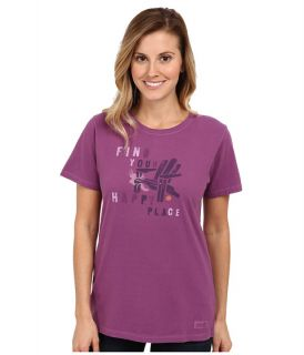 Life Is Good Happy Chair Stencil Crusher Tee Perfect Plum