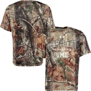 Maryland Terrapins Under Armour Real Tree Catalyst T Shirt   Camo