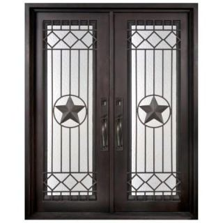 Iron Doors Unlimited 62 in. x 97.5 in. Texas Star Classic Full Lite Painted Oil Rubbed Bronze Wrought Iron Prehung Front Door WS6297LSLW