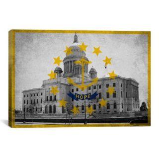 iCanvas Rhode Island Flag, Grunge Capitol Building Graphic Art on Canvas