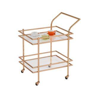 American Atelier Gold framed Glass Shelf Rolling Cart   18896160