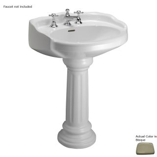 Barclay Vicky 34.12 in H Bisque Vitreous China Pedestal Sink