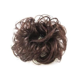 Light Brown Faux Hair Wedding Elastic Band Curly Hairpiece Wig Bun