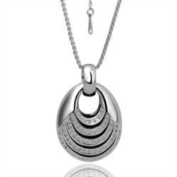 White Gold Plated Abstract Circular Drop Necklace   18515490