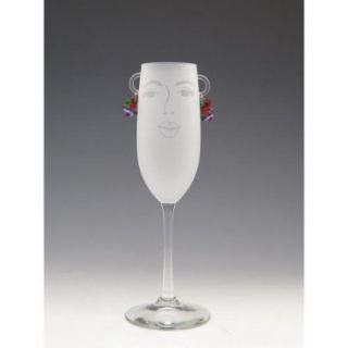 Set of 2 Flora Etched Face with Earrings Champagne Flute Glasses   8 Oz.