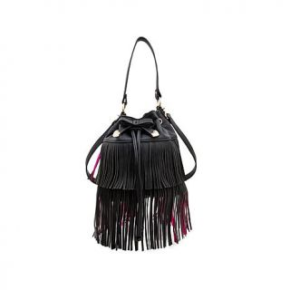 Betsey Johnson Fringe Party Drawstring Bucket Bag   7818118