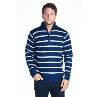 Mens Navy/ White Striped Quarter Zip Sweater   Shopping