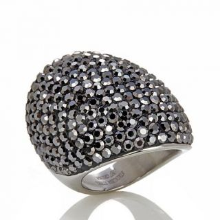 Stately Steel Bold Pavé Crystal Dome Ring   7787411
