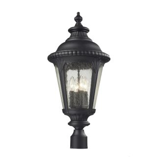 Z Lite 545PHB BK Medow 26 H 4 Light Outdoor Post Light in Sand Black with Clear Seedy Shade
