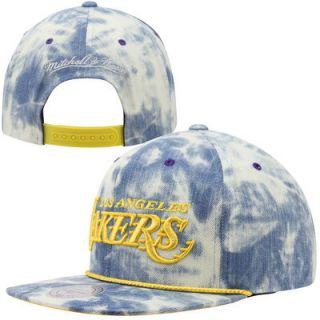 Mitchell & Ness Los Angeles Lakers Acid Wash Denim Solid Logo Adjustable Snapback Hat   Blue