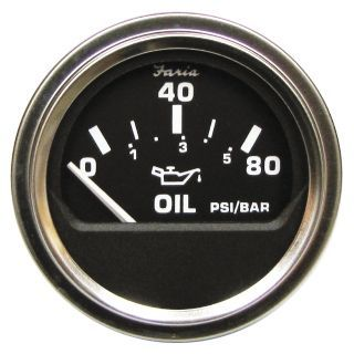 """FARIA 2"""" Stainless Steel Engine Oil Pressure Gauge with 2 1/16"""" (53mm) Mounting Hole   45YT84