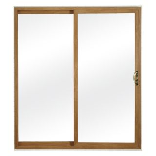 ReliaBilt 300 Series 59.75 in Clear Glass Light Oak Int White Ext Vinyl Sliding Patio Door with Screen
