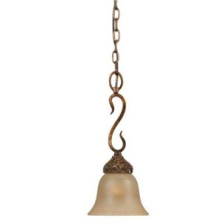 Illumine 1 Light Antiqued Gold Leaf Mini Pendant with Cognac Tinted Scavo Glass CLI TR39649