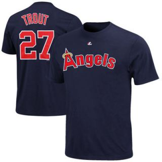 Majestic Mike Trout Los Angeles Angels of Anaheim Throwback Name and Number T Shirt   Navy Blue