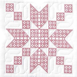 Stamped White Quilt Blocks 18X18 Stepping Stones