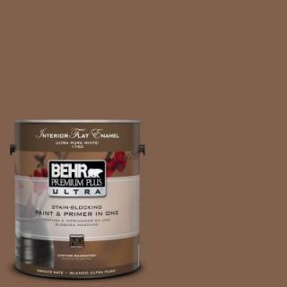 BEHR Premium Plus Ultra 1 Gal. #UL130 3 Burnt Terra Interior Flat Enamel Paint 175301