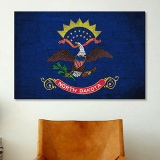 North Dakota Flag, Grunge Vintage Map Graphic Art on Canvas