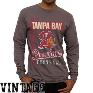Tampa Bay Buccaneers Vintage Vertical Lines Long Sleeve T Shirt   Charcoal