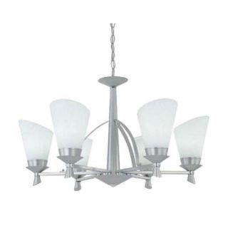 Designers Fountain Nixon Collection 6 Light Satin Platinum Chrome Hanging Chandelier HC1019