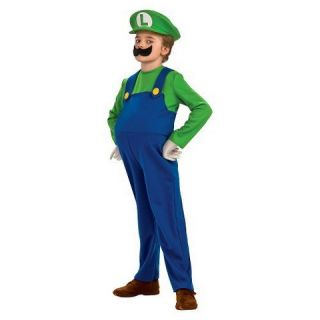 Boys Deluxe Luigi Costume w/ Inflatable Belly