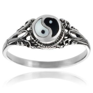 Journee Collection Sterling Silver Yin Yang Ring   15524618