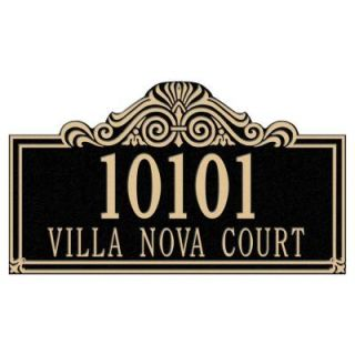 Whitehall Products Villa Nova Rectangular Black/Gold Estate Wall Two Line Address Plaque 1010BG
