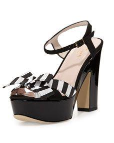 kate spade new york annie striped grosgrain platform sandal, black