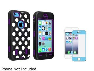 Insten Purple Hard/ Black White Dot Skin Hybrid Case with Blue Color Frame Screen Shield Compatible with Apple iPhone 5C 1530006